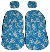 Hawaii car seat cover<br>Separated Headrest, Blue blue flower<br>(quilted)