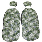 Separated Headrest <br>Hawaii car seat cover<br>#6 Green Hawaiian<br>(quilted)