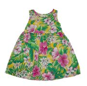 Hawaii dress for girl<br>Yellow with Pink Flower
