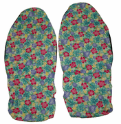 Hawaii Seat Cover <br>123 Green/pink flower<br> (Non-quilted)