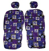 Hawaii Seat Cover with Separated Headrest<br>Purple Sea Turtle(Non-quilted)