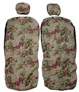 Hawaii Seat Cover with Separated Headrest<br>Yellow Bird of Paradise flower(Non-quilted)