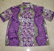 Hawaiian Party Shirt <br>#4 Purple lei, M-XL & 3XL