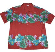 Hawaiian Shirt 100% polyester<br>#11 Colorful Red 2XL