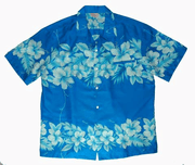 Hawaiian Shirt  100% polyester<br>#61 Blue / blue flower