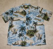 Hawaiian Shirt #28 Blue Islands M-2XL