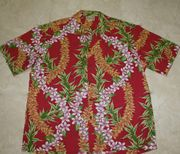Hawaiian Shirt #46 Red and white flower