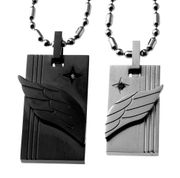 Lovers Couple Black and White Tone<br> Angel Wing Matching Pendant Set
