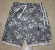 "Men's Elastic board short <br>Gray flower, size 32  to 40"","