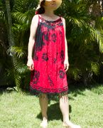 Hawaii Floral print Cover-up Dress - Red Flower
