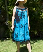Hawaii Floral print Cover-up Dress - Blue Flower