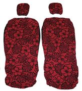 Hawaii Seat Cover with Separated Headrest<br>Red and Black Flower