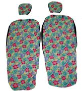 Hawaii Seat Cover with Separated Headrest<br>Green and Pink flower(Non-quilted)