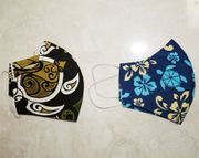 Set of 2 Hawaii Fabric Three Layer<br>Face Mask Cover