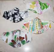 Set of 4 Hawaii Fabric Double Layer Face Mask Cover