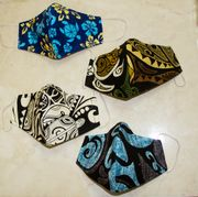 Set of 4 Hawaii Fabric Three Layer<br>Face Mask Cover