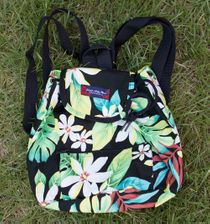Small Backpack<br>Black plumeria