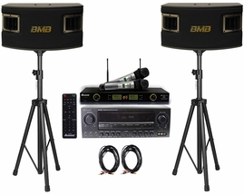 BMB CSV-450 500W Speakers , Acesonic AM-200 Bluetooth Karaoke Amplifier, UHF-5200 PRO Microphone System with Speaker Cable and Speaker Stands