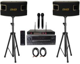 BMB CSV-450 500W Speakers , Acesonic AM-200 Bluetooth Karaoke Amplifier, Acesonic UHF-A6 Microphone w Speaker Cable and Stands