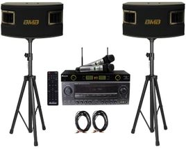 BMB CSV-450 500W Speakers , Acesonic AM-200 Bluetooth Karaoke Amplifier, Acesonic UHF-5200 Microphone w Speaker Cable and Stands