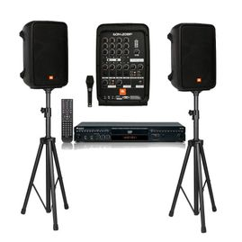 "Acesonic DGX-220 Multi Format Karaoke Player Bundle With JBL EON208P 8"" 300W PA System"