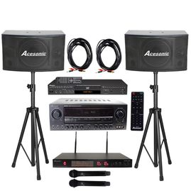 Acesonic DGX-220 HDMI Karaoke Player, AM-200 Karaoke 960W Amp With SP-450 300W Speaker & UHF-A6 UHF Mic, Speaker Cable/ Stand
