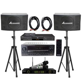 Acesonic DGX-220 HDMI Karaoke Player, AM-200 Karaoke 960W Amp With SP-450 300W Speaker & UHF-5200PRO Mic, Speaker Cable/ Stand
