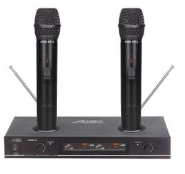 "Audio 2000's AWM6112 Plug-In-N-Recharge VHF Dual Channel Wireless Microphone System <b><font color=""#ff0000"">Open Box</font></b>"