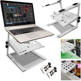 AxcessAbles LTS-03 Two Tier Adjustable Laptop Stand with Desk Clamps (White)