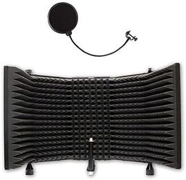 AxcessAbles SF-101 Recording Studio Microphone Isolation Shield with Vocal Pop Filter, High Density Acoustic Foam and Desktop Stand Feet
