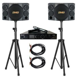 BMB CSE-312 800W Speaker with AM2350 1400W Amplifier, Speaker Cable & Speaker Stand Package