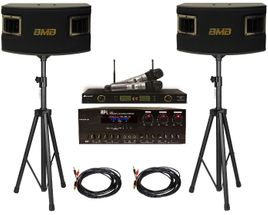 BMB CSV-450 Speakers + API A-502 Mixing Amplifier + Acesonic UHF-5200P Wireless Mics + Speaker Stand and Speaker Cables
