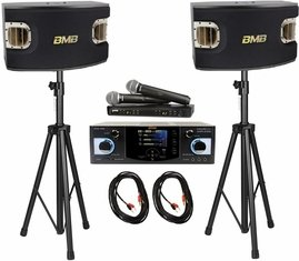 BMB DAS-400 Amplifier, CSV-900 Speakers Karaoke Sound System, 600W, Dual Shure BLX288/PG58 Wireless Mics