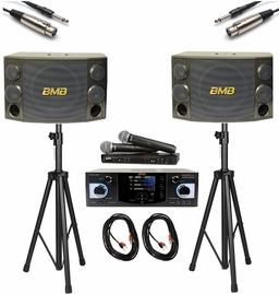 BMB DAS-400 Amplifier and BMB CSD-2000 Speaker with Shure BLX288/PG58 Wireless Mic (Cable and Speaker Stand)