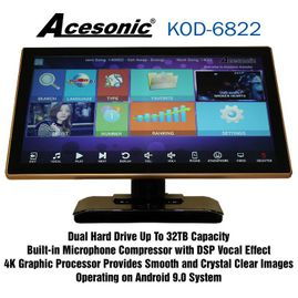 Acesonic KOD-6822 Dual Hard Drive Multimedia Karaoke Android Jukebox System w/ Touch Screen - 4TB Spanish