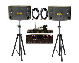 BMB CSD-880 Speakers + API A-502 Mixing Amplifier + Acesonic UHF-5200P Wireless Mics + Speaker Stand and Speaker Cables
