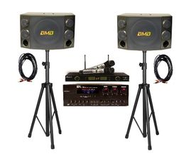 BMB CSD-2000 Speakers + API A-502 Mixing Amplifier + Acesonic UHF-5200P Wireless Mics + Speaker Stand and Speaker Cables