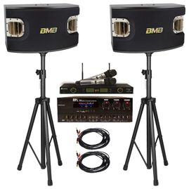 BMB CSV-900 Speakers + API A-502 Mixing Amplifier + Acesonic UHF-5200P Wireless Mics + Speaker Stand and Speaker Cables