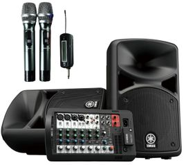 YAMAHA STAGEPAS 400BT with Acesonic UHF-920 Portable 900MHZ Dual Wireless Microphone System