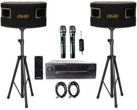 BMB CSV-450 500W Speakers with Acesonic AM-200 Mixing Amplifier, Acesonic UHF-920 Dual 900MHz Wireless Microphone System, Speaker Stand (PR), and Speaker Cable Package