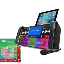iKaraoke KS780B-BT Bluetooth CD+G Karaoke Disco Party Machine with Light Effects with Christmas Pack & Choose 1 CDG