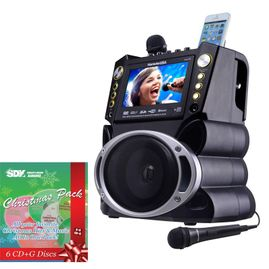 "Karaoke USA GF844 DVD/CDG/MP3G/Bluetooth Karaoke System  7"" TFT Color Screen with Christmas Pack & Choose 1 CDG!"