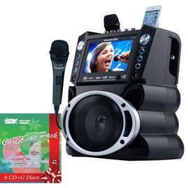 "Karaoke USA GF846  7"" TFT Color Screen, Record, Bluetooth and LED Sync Lights /w Christmas Pack & 1 CDG"