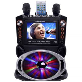"""Karaoke USA GF846 DVD/CDG/MP3G Karaoke System with 7"""" TFT Color Screen, Record, Bluetooth and LED Sync Lights"""