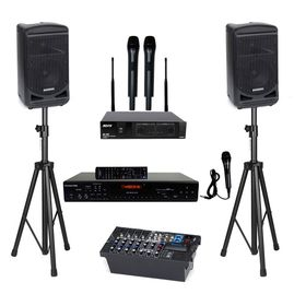 Samson Expedition XP800 Portable PA System with Bluetooth, Karaoke USA DV102 Karaoke Player, ATNY AT-50 HT UHF Dual Wireless Mic and Speaker Stand