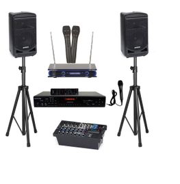 Samson Expedition XP800 Portable PA System with Bluetooth, Karaoke USA DV102 Karaoke Player, Vocopro VHF-3005 Dual Channel Wireless Mic and Speaker Stand
