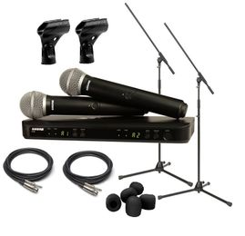 "Shure BLX288/PG58 Dual Wireless System Package With Boom Stands, XLR3F to 1/4"" Cables, Windscreens"
