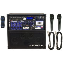 VocoPro Hero-REC Basic 120W 4-Ch Multi-Format Portable P.A. System with Digital Recorder & Two Wired Mics