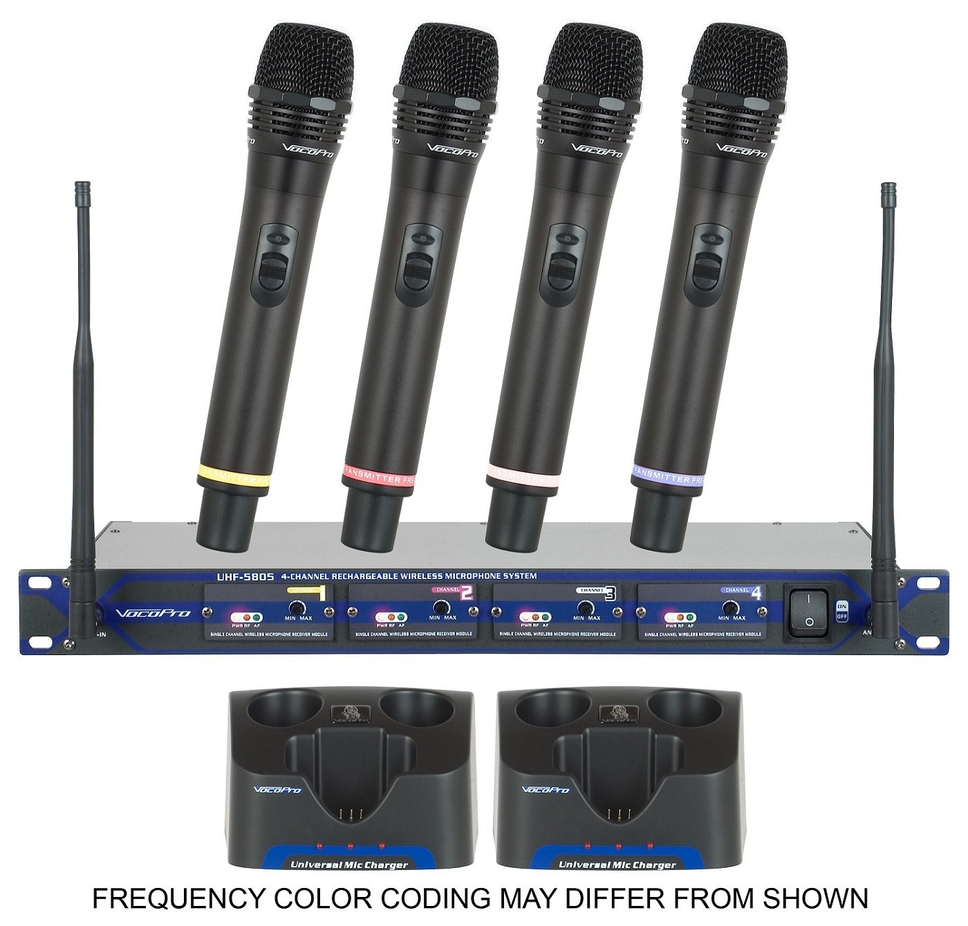 vocopro uhf 5805 4 ch uhf rechargeable wireless microphone system 900mhz. Black Bedroom Furniture Sets. Home Design Ideas