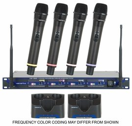 VocoPro UHF-5805 4-Ch UHF Rechargeable Wireless Microphone System (900MHz)